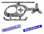 Mosaic Helicopter Icon And Rectangular Brazzaville Stamps. Flat Vector Helicopter Mosaic Pictogram O poster