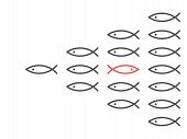 Opposite Direction Unique Red Fish In Shoal Of Many Black Ones. Personality, Belief, Courage, Societ poster