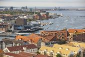 Copenhague Cityscape Harbor And Canal. Denmark Capital Skyline. Waterfront poster