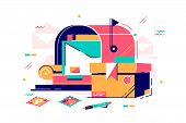 Mailbox And Letters With Postage Stamp Vector Illustration. Public Box With Slot Into Which Mail Wit poster