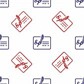 Blue And Red Signed Document Line Icon Isolated Seamless Pattern On White Background. Pen Signing A  poster