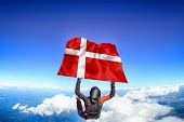 Denmark Extreme. Flag In Skydiving. People In Free Fall Grab Flag Of Denmark. Patriotism, Men And Fl poster