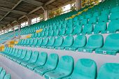 Empty Seats On Tribune Arena. Racing Stadium Bleachers. Racing, Tribune Without Fans. Empty Tribunes poster