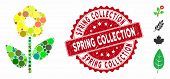 Mosaic Flower Plant Icon And Grunge Stamp Watermark With Spring Collection Phrase. Mosaic Vector Is  poster