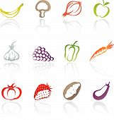 pic of fruits vegetables  - icons of various fruit and vegetables isolated in white - JPG