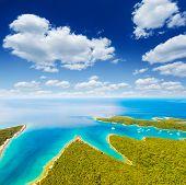 Aerial drone photo of tropical coast. Location place Punta Kriza, Cres island, Kvarner bay, Croatia, poster