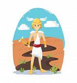 Ancient Greek Mythological God Hermes Vector Cartoon Illustration poster