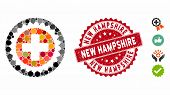 Mosaic Medical Stamp Icon And Grunge Stamp Seal With New Hampshire Caption. Mosaic Vector Is Compose poster