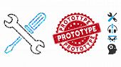 Mosaic Tuning Tools Icon And Distressed Stamp Seal With Prototype Text. Mosaic Vector Is Created Wit poster