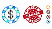Mosaic Casino Chip Icon And Distressed Stamp Seal With Harare Caption. Mosaic Vector Is Composed Fro poster