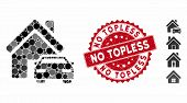 Collage Property Icon And Rubber Stamp Seal With No Topless Caption. Mosaic Vector Is Created With P poster
