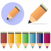 Pencils, A Set Of Cartoon, Colored Pencils. A Pencil Icon With A Shadow. Flat Design poster