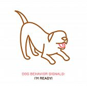 Dog Behavior Icon. Domestic Animal Or Pet Language. I Am Ready. Lets Play. Doggy Reaction. Simple Ic poster