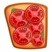 Sliced Tomato Toast Icon. Cartoon Of Sliced Tomato Toast Vector Icon For Web Design Isolated On Whit poster