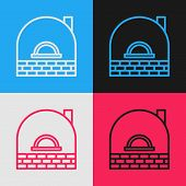 Color Line Brick Stove Icon Isolated On Color Background. Brick Fireplace, Masonry Stove, Stone Oven poster