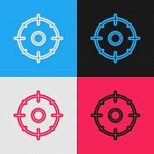 Color Line Target Sport For Shooting Competition Icon Isolated On Color Background. Clean Target Wit poster