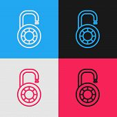 Color Line Safe Combination Lock Wheel Icon Isolated On Color Background. Combination Padlock. Secur poster