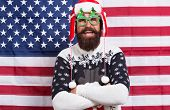 Being Santa Can Be Fun. Bearded Man Enjoy New Year Fun. Patriotic Hipster Smile On Star Spangled Ban poster
