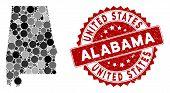 Mosaic Alabama State Map And Circle Stamp. Flat Vector Alabama State Map Mosaic Of Randomized Circle poster