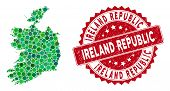 Mosaic Ireland Republic Map And Round Stamp. Flat Vector Ireland Republic Map Mosaic Of Randomized R poster
