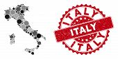 Mosaic Italy Map And Circle Rubber Print. Flat Vector Italy Map Mosaic Of Scattered Circle Elements. poster