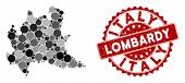 Mosaic Lombardy Region Map And Round Seal Stamp. Flat Vector Lombardy Region Map Mosaic Of Random Ro poster