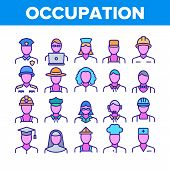 Occupation Collection Elements Icons Set Vector Thin Line. Policeman And Doctor, Teacher And Nurse,  poster