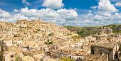 Aerial Panoramic View Of Historical Centre Sasso Caveoso Of Old Ancient Town Sassi Di Matera With Ro poster
