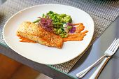 Closeup Perfectly Executed Norwegian Salmon Fillet Steak With Crispy Fish Skin, Broccoli, Young Bean poster