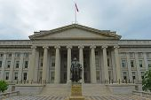 United States Treasury Building In Washington, District Of Columbia Dc, Usa. Treasury Building Is Th poster