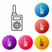 Black Line Walkie Talkie Icon Isolated On White Background. Portable Radio Transmitter Icon. Radio T poster