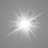 Star Explosion Vector Illustration, Glowing Sun. Sunshine Isolated On Transparent Background poster