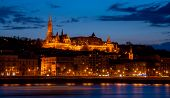 Royal Palace Or The Buda Castle After Sunset With Lights Illuminated At In Danube River In Budapest  poster