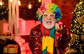 Christmas Decorations Home. Party Entertainment. Christmas Spirit. Cheerful Clown Colorful Hairstyle poster