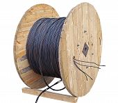 Black Wire Electric Cable With Wooden Coil Of Electric Cable On White Background poster