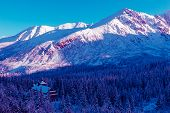 Surreal Mountain Landscape, Neon Purple Mountains, Hotel And Christmas Trees Covered With Snow, Crea poster