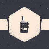 Grunge Walkie Talkie Icon Isolated On Grey Background. Portable Radio Transmitter Icon. Radio Transc poster