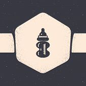 Grunge Baby Bottle Icon Isolated On Grey Background. Feeding Bottle Icon. Milk Bottle Sign. Monochro poster