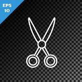 White Line Scissors Hairdresser Icon Isolated On Transparent Dark Background. Hairdresser, Fashion S poster