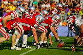 VIENNA, AUSTRIA - JUNE 5 QB Christoph Gross (#8 Austria) at the line of scrimmage on June 5, 2011 in
