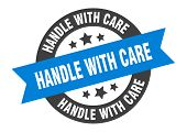 Handle With Care Sign. Handle With Care Blue-black Round Ribbon Sticker poster