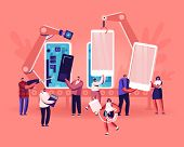 People Assembling And Using Smartphones Concept. Tiny Of Men And Women Holding Cellphones, Memory Ca poster