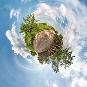 Little Planet Transformation Of Spherical Panorama 360 Degrees. Spherical Abstract Aerial View In Fi poster
