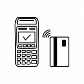 Nfc Payment Vector Outline. Contactless Payment Machines With A Credit Card, Contactless Payment Ico poster
