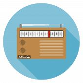 Retro Radio, Retro Radio With Shadow. Radio Icon. Flat Design poster