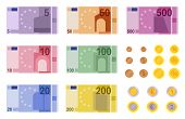 Euro Banknotes. European Banks Financing, Paper Euro And Dollar Money And Coins Of Different Denomin poster
