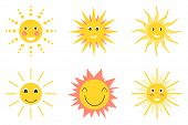 Sun Emoji. Funny Summer Sunshine, Sun Baby Happy Morning Emoticons. Set Of Different Smiling Yellow, poster