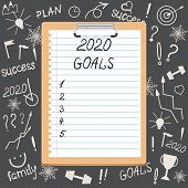 The Concept Of Goals. Clipboard With The Inscription Goals 2020. In The Background Are Icons And Sym poster