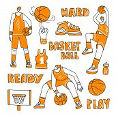 Vector Lined Set Of Basketball - Basketball Players, Basket, Ball, Sneakers. Vector Sport Collection poster