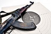foto of kalashnikov  - kalashnikov ak 74 on a paper target - JPG